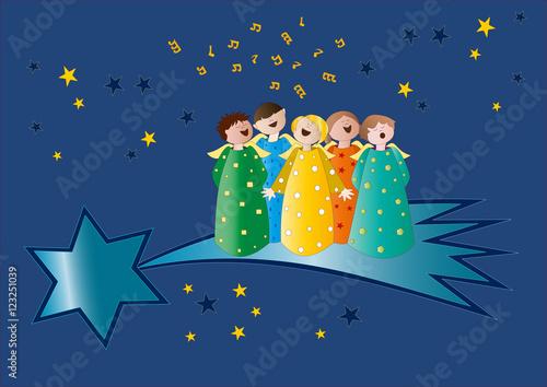 Canzone Di Natale Stella Cometa Testo.Coro Di Angeli Su Stella Cometa Immagini E Vettoriali Royalty Free