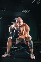 power athletic guy bodybuilder, execute exercise with dumbbells, in dark gym