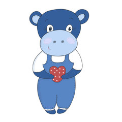 Cute hippo cartoon with heart vector illustration.