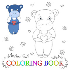 Cute hippo cartoon with heart vector illustration. Color and contour, coloring book