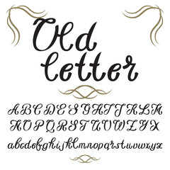 Hand drawn vector calligraphic typeface. Old style font vintage