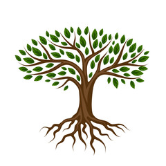 Abstract stylized tree with roots and leaves. Natural illustration