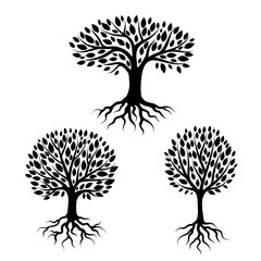 Set of abstract stylized trees with roots and leaves. Natural illustration