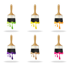 Colorful paint brushes. Vector illustration.