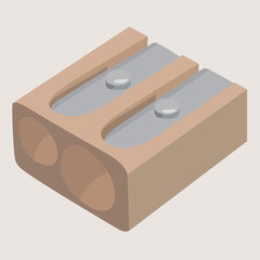 double brown wooden pencil sharpener vector illustration