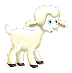 Cartoon funny sheep jumping and watching - isolated - illustration for children