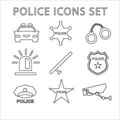 Police outline icons set. Linear vector illustration
