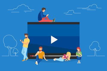 Video watching concept illustration of young people using mobile gadgets, tablet pc and smartphone for live watching a video via internet. Flat design of guys and women staying near big symbol