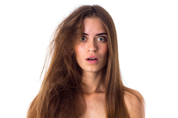 Woman with half of hair straight and half tangled