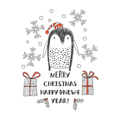 penguin in Santa hats