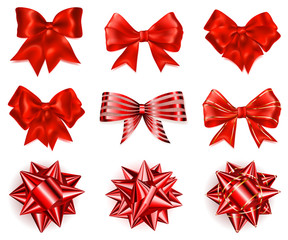 Set of big red bows
