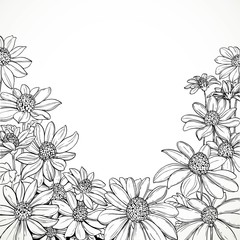 Black and white graphic line drawing of lush wildflowers and fie