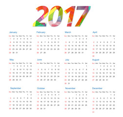 Template of calendar 2017 year colorful background