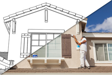 Diagonal Split Screen of Drawing and Photo of House Painter Painting