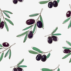 vector seamless pattern with black olives and leaves on white background