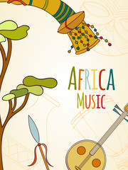 Hand-drawn africa music card