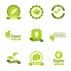 Wall Mural - Natural, eco and organic products vector logos with leaves