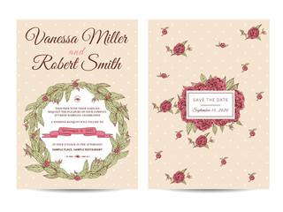 Vintage wedding invitation decorated with peonies