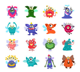 Flying cartoon monsters vector set for kids party