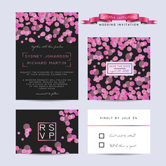 Elegant wedding set with rsvp and save the date cards, decorated with glowing glitter.