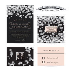 Elegant wedding set with rsvp and save the date cards, decorated with silver glitter.