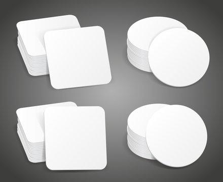 Paper blank beer coasters vector