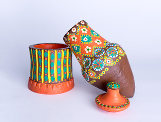 Minimized model painted pottery of a water storage Jug traditionally used by ancient Egyptians to store water for drinking purposes