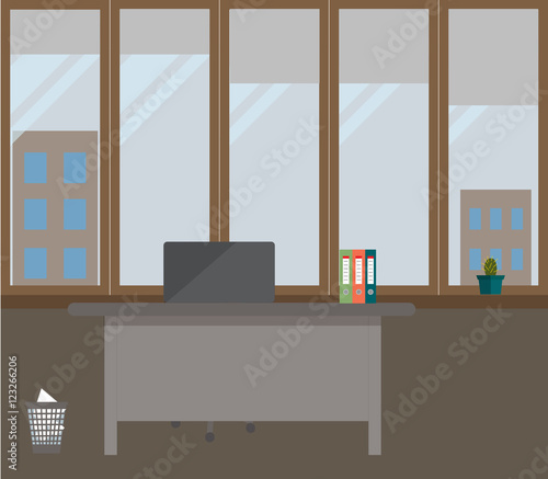 Office on a grey background vector illustration table for Descargar embroidery office design 7 5 full