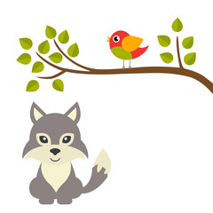cartoon bird on a branch and wolf