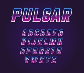 80s Retro Sci-Fi Universe Pulsar  Font Alphabet Vector Set