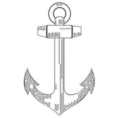 Nautical emblem. Anchor. Flat design. Vector illustration