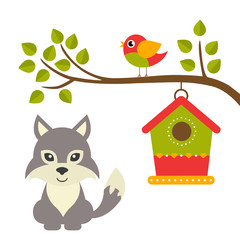 cartoon bird and birdhouse on a branch and wolf
