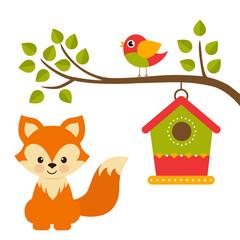 cartoon bird and birdhouse on a branch and fox