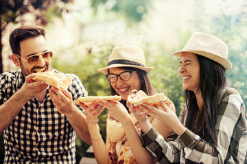 Friends Eating Pizza