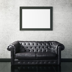 Leather sofa and picture frame