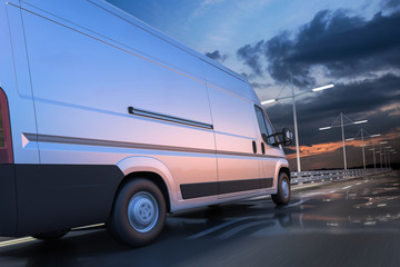 3d rendering of generic van on the road at dawn