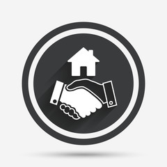 Home handshake sign icon. Successful business.