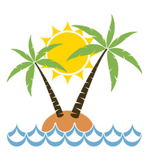 vector  palm tree on a small island for travel background