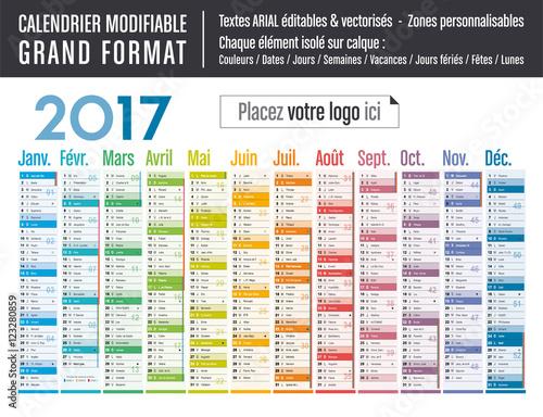 Calendrier 2017 modifiable grand format fichier for Grand calendrier mural 2017