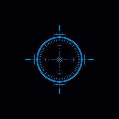 Gun Sight Flat Vector Monochrome