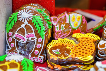 Gingerbreads displayed for sale at Riga Christmas market