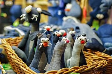 Textile black cat toys at the Riga Christmas market