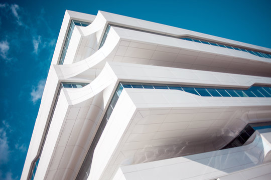 Fragment of a modern building, business centre in Moscow, architect Zaha Hadid