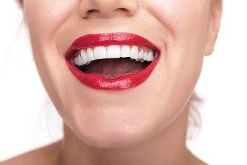 Beautiful red lips and teeth.