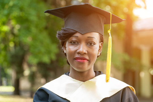 pretty african female college graduate