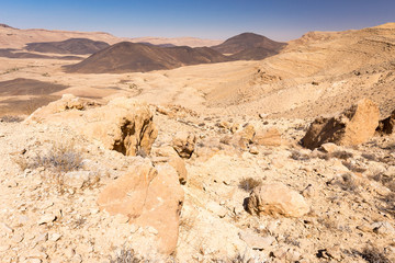 Crater mountains stone desert landscape Middle East nature sceni