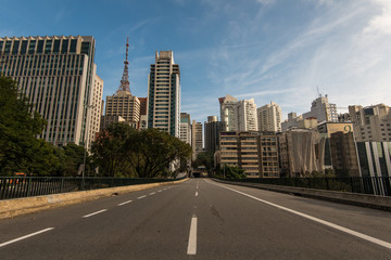 Empty Street in Downtown Sao Paulo