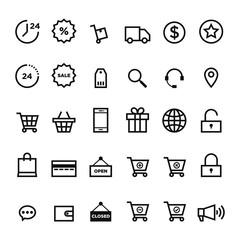 E-commerce outline icon set vector illustration