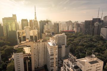 View of Sao Paulo Buildings by Sunrise
