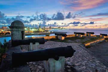 Havana skyline and bay entrance taken from el Morro Fortress